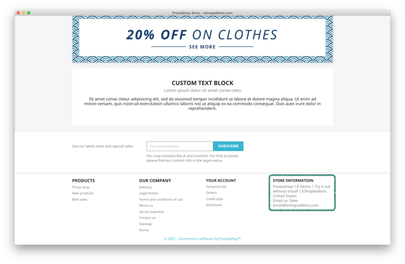 PrestaShop contact email at the default theme footer