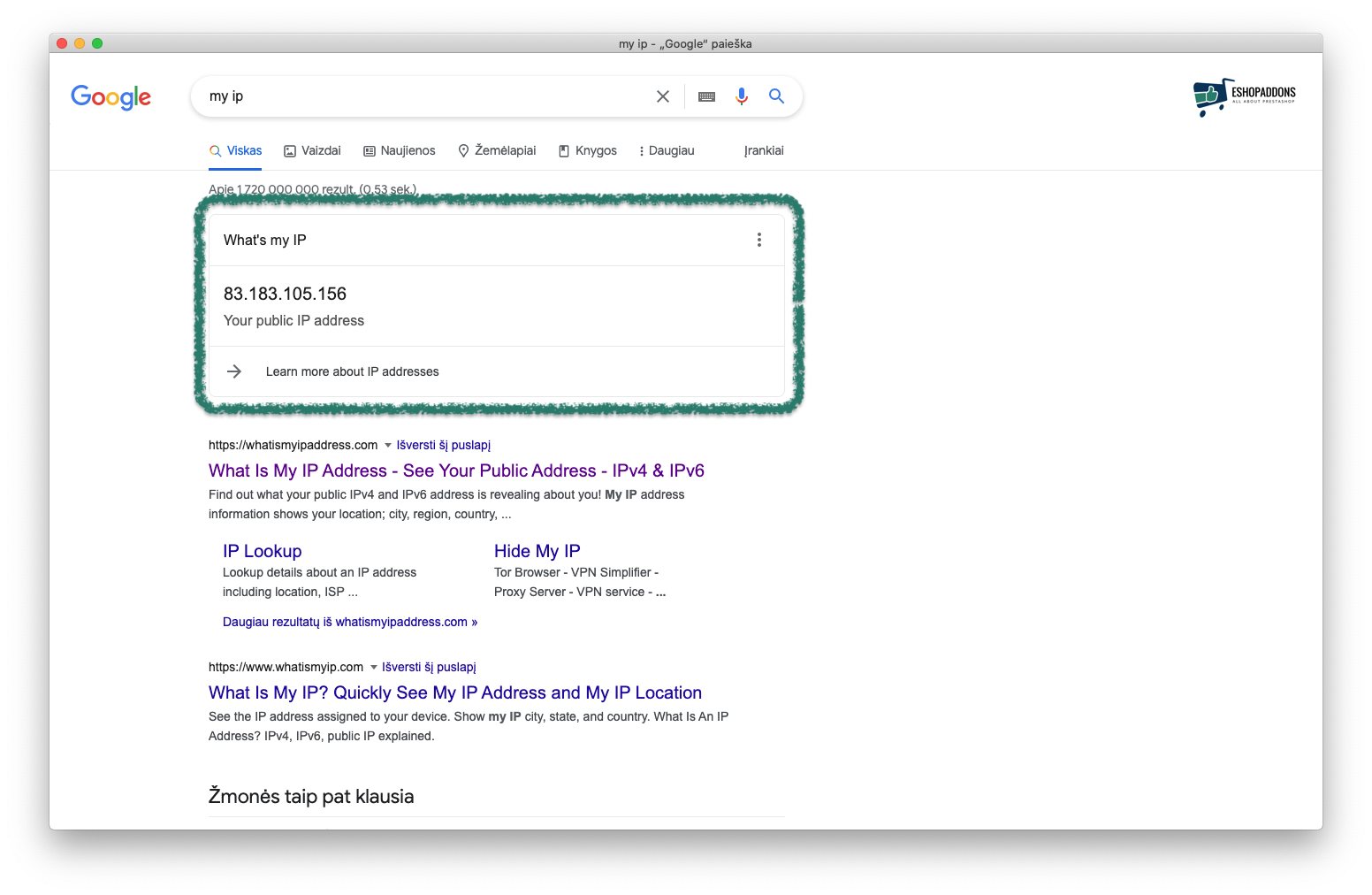 Figure out your IP address straight from the Google Results page