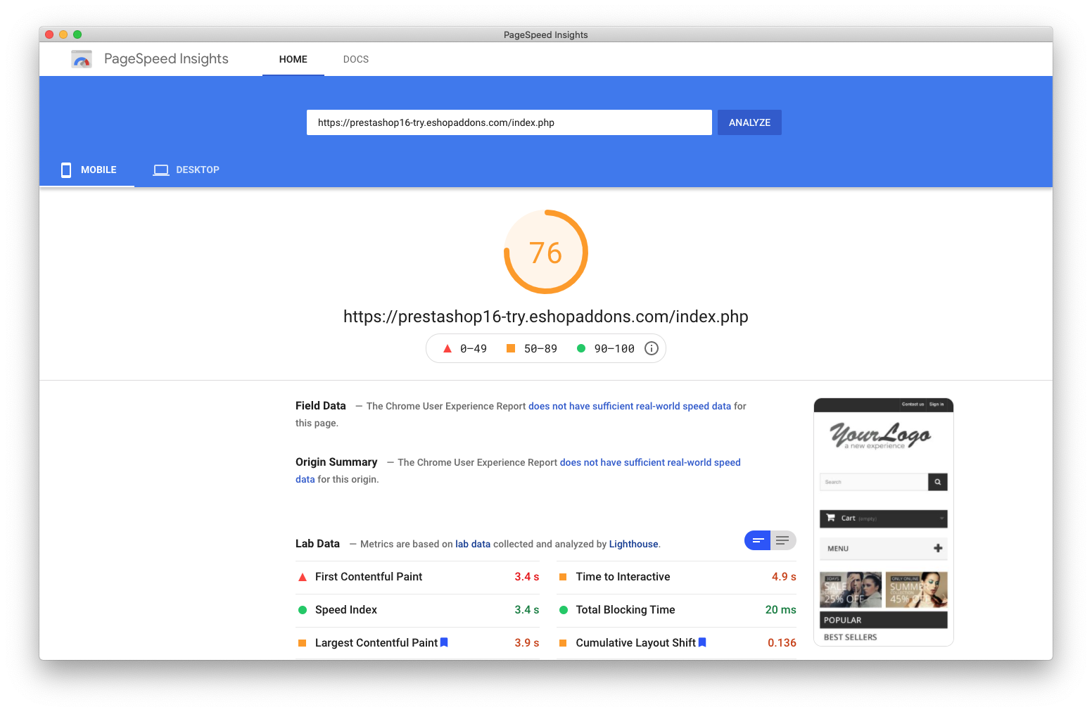 PageSpeed score on PrestaShop v1.6 is not that great