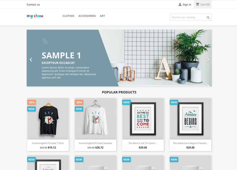 PrestaShop store homepage with sample products