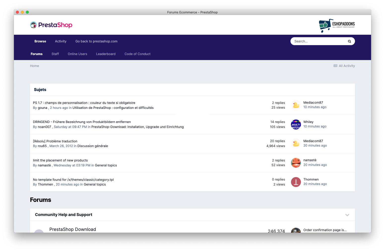 PrestaShop Forum - not all topics and messages are in English
